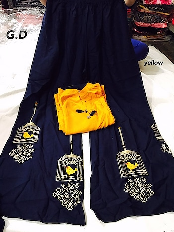 beautiful presentation by G.D   best for summers😻😻😻   full designer concept  and yes ---ready to ship😎😎😎😎  if order placed before 1 pm with payment then same day track  otherwise next day😎😎😎😎   top-rayon kurti ready to wear designed with tussels size(l,xl)   bottom-ready to wear plazo with embroidery    price -1250  free shipping all over india   quality excellent ❤❤ For booking contact  https://api.whatsapp.com/send?phone=918790064509