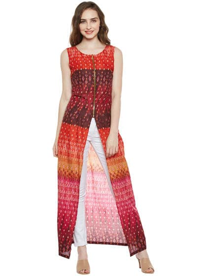 Multicoloured Maxi Top  Multicoloured Slit Maxi Top With Front Zip.     Material - 100% Cotton  COD Available   FREE Return  Shop Now https://goo.gl/aijVJi  https://dreamjourney.wooplr.com