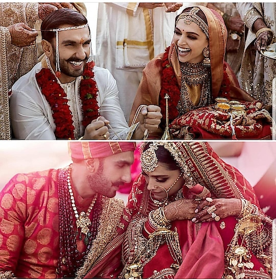 Could these two look any happier?! 🤩😍 #deepveerkishaadi . . . . . . #theredbox #crazysexycool #spiceitup #deepikapadukone #ranveersingh #deepveer #deepveerwedding #italy #lakecomo #bollywood #wedding #indianwedding #sabyasachi #sabyasachibride #brideoftheday #sopretty #gorgeous #relationshipgoals #weddinggoals #bollywoodfashion #bollywoodstyle #picoftheday #congratulations #love #lovebirds #loveisreal #congrats #romanticwedding #happyending