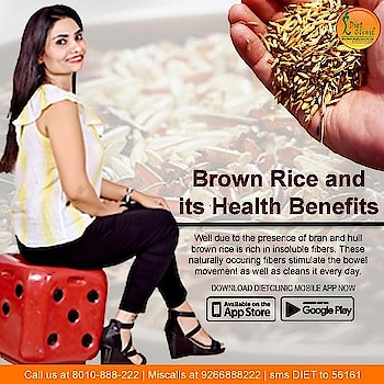 Nutritionally, brown rice is recommended for a healthy diet because it contains extra nutrients. Brown rice tends to be a bit more caloric, but it also contains extra protein and fiber that offer these health benefits: Lowers cholesterol. Controls blood sugar levels.  💪Get healthy & fit customized diet plan for any person. ⭐️ A Time to love your body ⭐️ A Time to ready for a healthy life with DietClinic ⭐️ A Time to be healthy and lose weight  For complete #health #wellness and group #fitness package,connect with DietClinic.  🗒️Book your appointment with dietition Sheela sehrawat. 🏃First come,first serve..  Call us📱8800997701,8800997703  Address-224 Gujranwala town part 3,North Delhi 110009