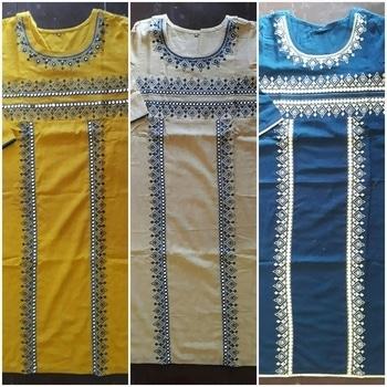 #MyFirstPost #SoRoposo Kurti Mirror work Size - 38, 40, 44, 46 Color - mustard, navy blue, camal #ladieskurti