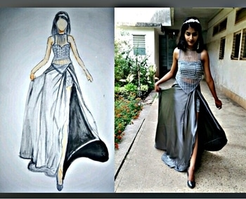 My design #fashion #show #talenthunt #designer #model #roposo #roposotalenthunt #ffdesignerhunt #illustration #pose #posing