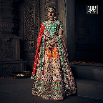 Buy Now @ http://bit.ly/VJV-MN4909  Charming Orange Color Silk Designer Lehenga Choli  Fabric- Silk  Product No 👉  VJV-MN4909   @ www.vjvfashions.com