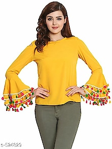 Carly Modern Women's Tops Vol 3 Fabric: Crepe / Cotton/ Rayon  Sleeves: Sleeves Are Included/ Sleeves Are Not Included  Size: XS- 34 in, S- 36 in, M- 38 in, L- 40 in, XL- 42 in, XXL- 44 in  Length: Up To 26 in  Type: Stitched  Description: It Has 1 Piece Of Women's Top  Work/ Pattern: Printed/ Solid/ Striped  Dispatch: 2 – 3 Days
