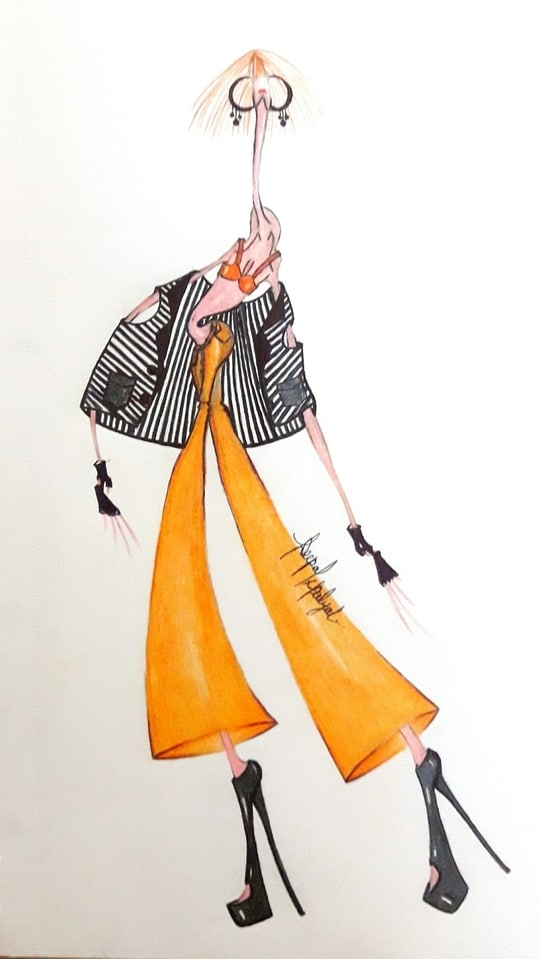Fashion illustration 🖌#stylized #lovemystyle #clours #sketching #trendy #streetstyle #womenswear #warmcolours #orange #black #style #widepants #bikinitop #sleevelessjacket #blackandwhite #stripes #rust #blackheels #earings #thoseredlips #brownhair #style #pose #artist #art🎨 ❤