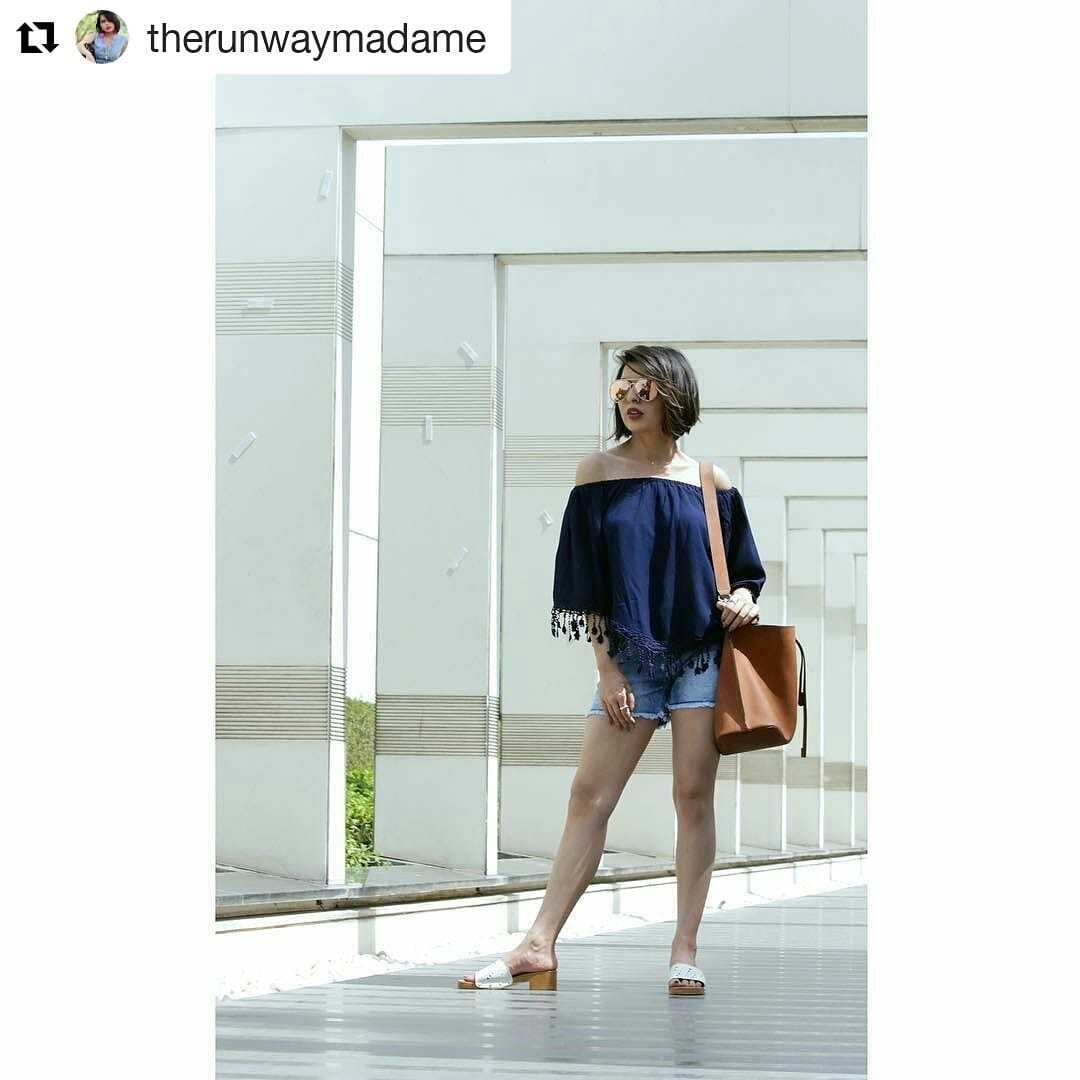 Fashion Bloggers Diya Mukharjee welcomes summer in a pair of off shoulder top and shorts #Repost @therunwaymadame with @repostapp ・・・ SUMMERS ARE HERE✨✨ Read all about this easy and chic look I've created to welcome summers in partnership with @dealjeans and @e2ofashion from the link in my bio! 🌞 . . . 📸 - @raghuadityaa  #welcomingsummers #beattheheat #summersarehere #summertime #favouriteseason #fashionblogger #style_gram #styleinfluencer #socialmediainfluencer #MadameXDealJeans #easychicoutfit #OOTD #indianstyleblogger #madamestyles #TheRunwayMadame #DiyaMukherji