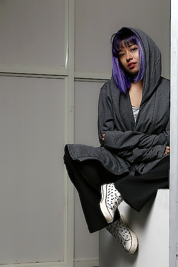 She sees in black and white Thinks in greys Loves in color. - JmStorm . . . . . . #greyoutfit #blackandgrey #blackandgreyrealism #iamwhoiam #fbloggerindia #fashionphotography #fashionphotoshoot #purplehair #haircolorideas #colorhairstyle #purpleandlavenderhair #gothichair #converseonestar #colorpointshorthair #edgyhaircut #badassedit #sneakerhead #fashionoftheday #attitudeera #indianfashionista #bangalorebloggerindia #streetfashionstyle #indianvogue #fashionartist #uncommonfashion #casualchic