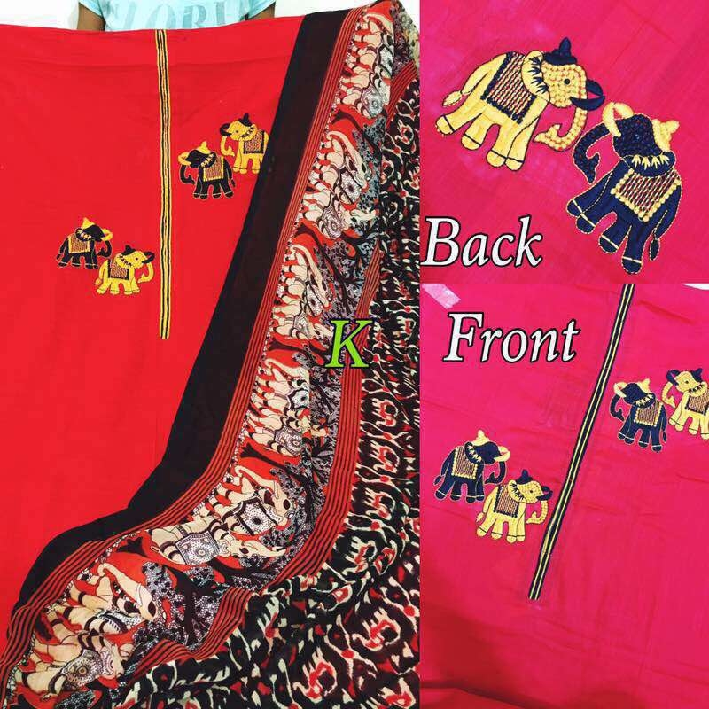 Shirt cotton ( elephants embriodered) Bottom cotton  Dupp chiffon elephant printed  Now at a new price  Nktj
