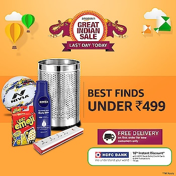 The last day of the #AmazonGreatIndianSale is here, and the deals couldn't get sweeter! Shop for popular products across various categories for less than Rs.499, and avail Free Delivery on your first order! https://t.co/s5Hn0xgOuq