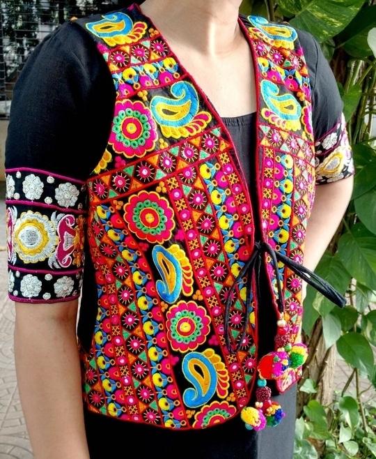 #ethnic-wear#koti#multicolor#kutch#embroidered#foil#mirror#long#koti