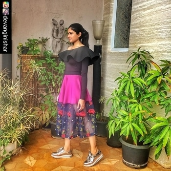 This just made our day... When your buyers sport your label, you know you are on the right track!  #azadirector #devanginishar in #valentine by #nityabajaj for #lakmefashionweek We love it @devanginishar and such a delight to see you style it impeccably😍  #Repost @devangninishar  Sneakers & Sun 👟🌞😎 Day 3 of #LakmeFashionWeek in a floral peekaboo skirt by @labelnityabajaj from azafashions.com . . #sneakerobsession #comfortstyle #LFW #nityabajaj #onlineshopping #fashionweek #azafashions #azadirectorinnityabajaj