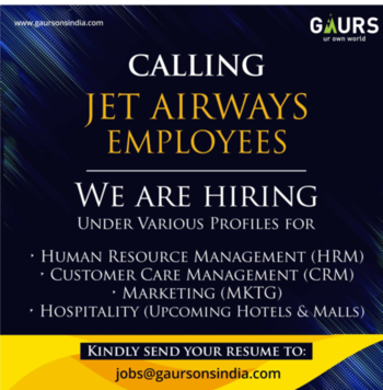 News #job #jet #airways #employees #offer #gaur #builder #group #u. P. #please #share #ropo-share #roposo-share #benefits #some #indian #naukri #send #biodaate #resume #interview #soon #planes #please #share