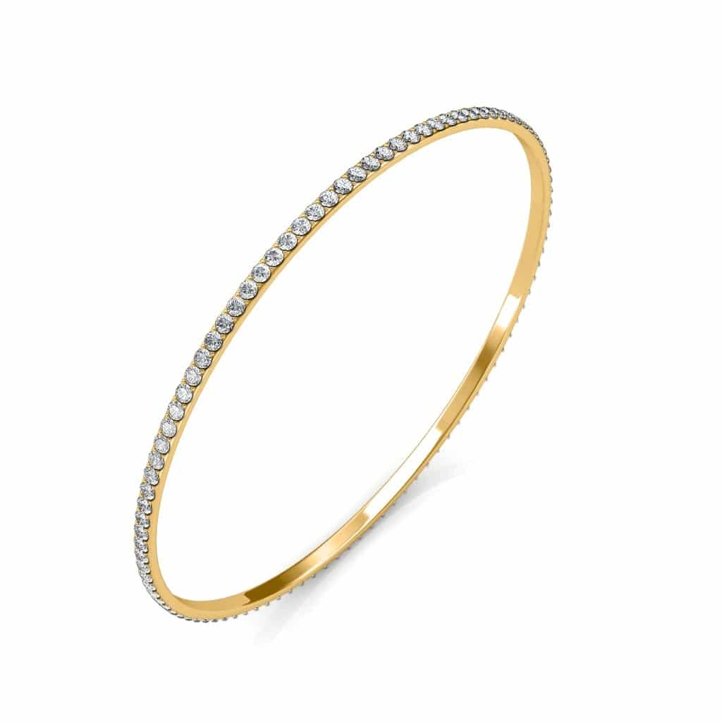 Classic Single Line Diamond Bangle Diamond Bangle in 18K Yellow Gold with RS 76,676 certified by IGI - International Gemological Institute. Also, available in other metal colors, diamond qualities and sizes, please contact our jewellery consultants to customize this product.http://www.sarvadajewels.com/the-classic-single-line-bangle.html #sarvadajewels #bangle #diamondbangles #designerbangle #diamondbangle #diamonds #naturaldiamonds #diamondjewellery #jewellery #roposo #roposolove #roposofashion