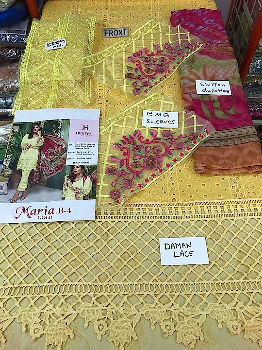 MAYSA COLLECTIONS: *🌹#Maria-4 #Gold by #Deepsy* (Indian catalogue) 👉Top:- pure cotton #chikan work with heavy #embroidery work 👉Bottom:- semi loan with embroidery 👉Dupatta:- chiffon printed  1 des × 5 colours set *✅Singles.1450/- *✅Set Rate : 950*5 pcs +Gst  Whatsapp on +918879845751. +919029093762  Whatsapp maysa collections directly from here.. https://api.whatsapp.com/send?phone=918879845751  Also Join our below networks free for getting latest updates.  Hello, thank you for your valuable message to MAYSA COLLECTIONS.  Will get back to  you soon.  FOLLOW ME ON :  FACEBOOK  https://www.facebook.com/maysacollections  YOU TUBE  https://www.youtube.com/channel/UCWAOvQymcY3bTdp_0jFiuzA? sub_confirmation=1  TELEGRAM https://t.me/maysacollections  INSTAGRAM https://www.instagram.com/maysacollection6125  PINTEREST : https://in.pinterest.com/maysacollections/  LINKEDIN  https://www.linkedin.com/in/maysacollections  Google Plus : https://plus.google.com/u/0/collection/oazrIE  ROPOSO http://www.roposo.com/profile/18166642-9884-481a-ad55-8efb727cb4cf?s_ext=true