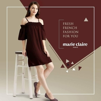 Style up in this gorgeous Burgundy Dress from Marie Claire.  Shop Now for dresses of your choice at https://goo.gl/bUQ4vu  #marieclaireindia #fashion #marieclaire #french #fashion_store #fashionabledresses #dress #dress-up #western-dress #styling