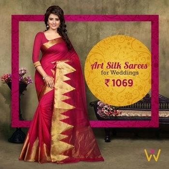 Designer Art Silk drapes for you to look luscious at the weddings you attend from WedLista.com!  SHOP NOW: http://bit.ly/SareesByWedLista   #WedLista #FashionForWeddings #silksaree #loveforsaree #ethnicwear #weddingcollection #wedding_wear #ropolove