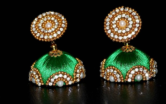 #Stone #Embellished #Parrot #Green #Coloured #Silk #Threaded #Jhumki  Use Coupon Code NWYR2018 For Each Order For Rs 1500 And Above With Aspire High