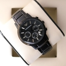 🌟 Full Stock & Ready to Ship today 🌟  # Emporio Armani # For Men # 7A # Model-Ar2453 # Feature-Working chronograph, full black metal chain & elegant silver looks  ✨ New price updated & Free Armani brand name box ✨  Available @ Rs 2199 shiping free dhar