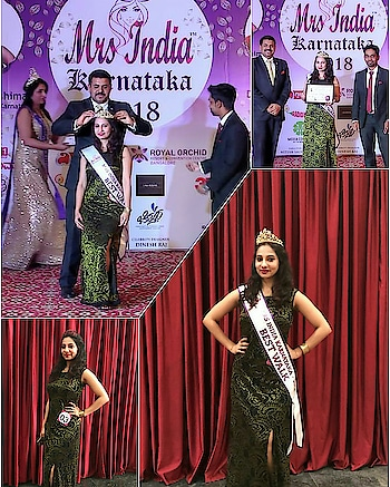"""Crowned for the """"Best Walk"""" in Mrs India Karnataka 2018 👑 . . . . . #mrsindia #mrskarnataka #mrsindiakarnataka2018 #mrsik2018 #mrsindia2018 #beautypageant #mrs  #beautywithapurpose #beautywithbrains #rampwalk #bestwalk #pageantqueen #catwalk #pageantlife #pageantry  #bangalorefashion #crown #sash #whatiwore #eveninggown #highslit #trendingnow #bangaloremodel  #indianpageant #mrspageants"""