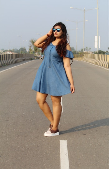DENIM SKATER GIRL 💙💙 Its all about a casual #ootd where I am wearing this denim skater dress from @stalkbuylove.com called 'Aracia Dress' 👗 and a cute brown leather bagpack called 'Hummer Bagpack' again from SBL 🎒  Also ordered these uber cool sneakers online which is my current fav. 👞😍 #roposo #roposodaily #roposolove #roposoblogger #sbl #stalkbuylove #fashionblogger #voteforme #roposobloggerawards 💕✌