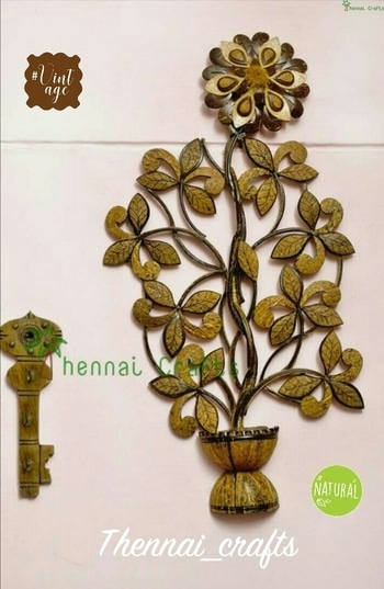 Wall decor  Make: coconut shell  Try Flower pot design to enrich your room wall with pleasant view #walldecor  #artandcrafts #woodart  #coconutshell #vintage  #nature  #roposotalenthunt  #art #eco-friendly #decor #desktop