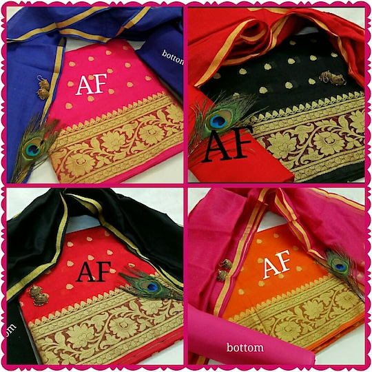 Banaras grand Top  with chanderi silk dupatta  contrast cotton bottom 820+SHIPPING    Earring Not available SD