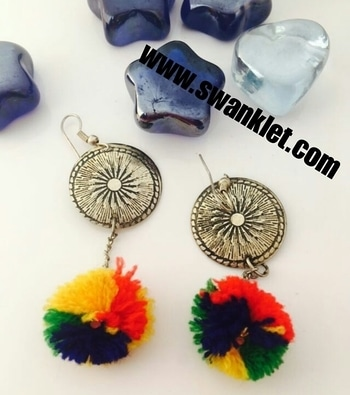 Swanklet Fashion western party wear  pom pom earrings for grils and women....  Ping for price!!!!  #onlineshopping  #onilnestore  #fashion #fashionworld #trendy #instastyle #dm_for_order #swanklet #sparklingcreationz #diva #jewellery #jewelry #earrings #traditional #chic #lovely #beautiful #earringsoftheday #buyme #shopperslove#Swanklet #IamSwanklet #sparklingCreationz #sparkleme #Instamood