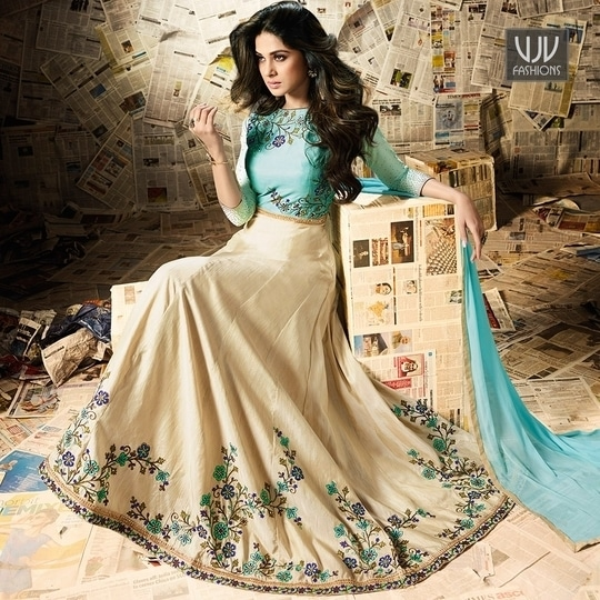 Buy Now @ https://goo.gl/xyl3zm  Jennifer Winget Cream Color Silk Designer Anarkali Suit  Fabric- Silk, Viscose  Product No 👉 VJV-MUGD11001  @ www.vjvfashions.com #anarkali