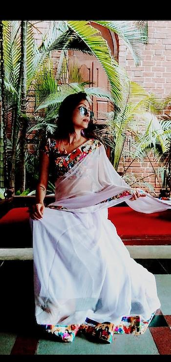 #saree #fashionista #sudhajain #global #shootmode #brandsudha # #pastel #chiffonsaree #archieborder #sudhajainatraveller