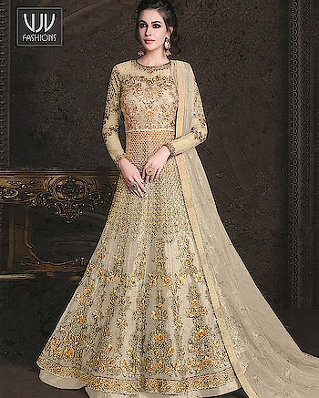 Buy Now @ http://bit.ly/VJV-RAAZ22385  Unique Beige Color Net Embroidered Anarkali Suit  Fabric- Net  Product No 👉  VJV-RAAZ22385   @ www.vjvfashions.
