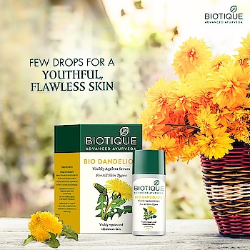 Natural things can do wonders to your skin. Don't believe this fact?  Try Bio Dandelion. Rich in Vitamin E and minerals, this serum brightens your skin and makes it glow.  Tag a friend with whom you would want to try it. #Biotique #AdvancedAyurveda #FlawlessSkin #Skincare #Glow