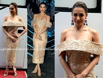 Malaika looking lovely in a beige off shoulder dress from a Lebanese designer, Rayane Bacha, hair in sleek ponytail, tassel Earrings (trending), nude pumps from Louboutins. 😙 😙  Big statement earrings r new cool of 2017. 'Size matters'💕  #malaikaarora #rayanebacha#louboutins ##glamlook #glamourgirl #Fashion post #fashion-diva #fashionstatement #fashionworld #fashion blog #fashionwear #fashion blogger #fashionicon #bollywoodactress #chiclook  #stylealertsbykm