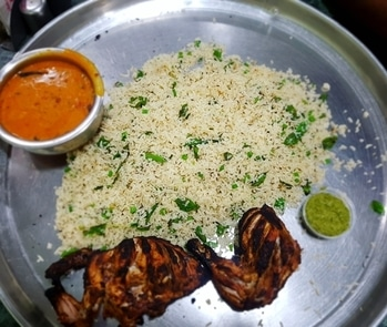Yummy & Delicious Zeera Rice With Hyderabadi Khatti Dal & Arabic Tandoori Chicken For Lunch...