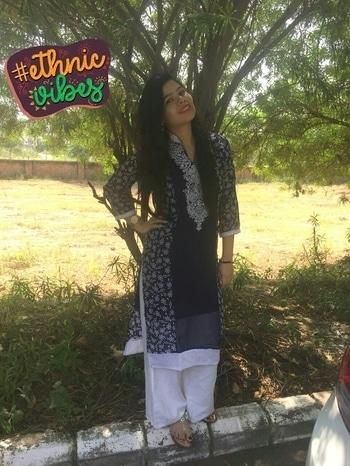 fashion#ethnic-wear #blue #white #pallazosfashion #jhumkies #natural-hair #longkurti #kolhapurichappals #kalaniketan #pinklips #kajaleyes #ethnicvibes #desilook #own creation #bindilove #longnails #golden #sparkle #sparklegirl #ethnicvibes