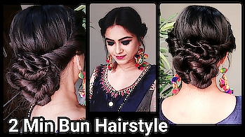 Bun Hairstyle For Party!! #newvideo #youtuber #hair #hairstyleing #natural-hair #youtubechannel #youtubecreatorindia #hairstylediaries #messybun #partyhairstyle #ethnicwear