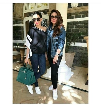 The Stylish Kapoor sisters twinning up with white sneakers. While Kareena spotted in Zara Denim Jacket.