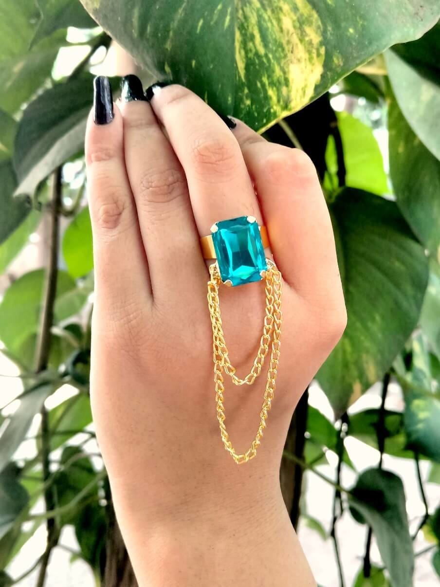 #indian #jewelry #sky #blue #stone #embellished #chain #adustable #ring