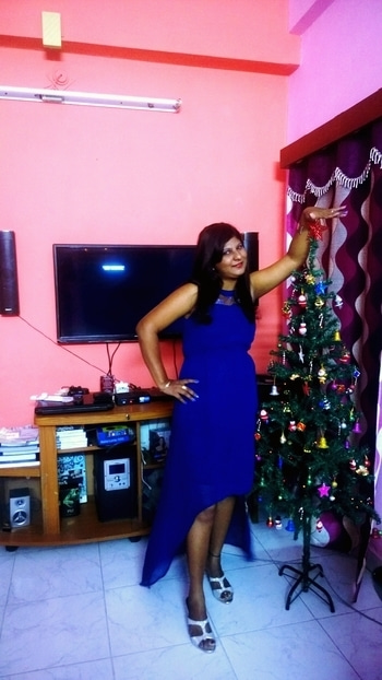 Blue fever# high low dress # gift # online shopping# harpa brand via flipkart#passionate red lipstick# re blue  + shimmer nailpaints# blue eyeliner# makeup Revlon# trendsetter# pink leaf silver high heels# profile picture #newdp #westernoutlook