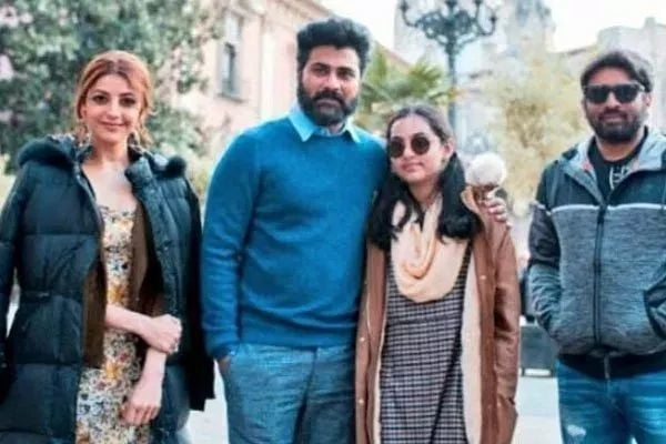 A pic of #Sharwanand #KajalAggarwal and #SudheerVarma on the sets of their upcoming film shoot going on in Spain Satellite,Digital Rights: #GeminiTV #SunNXT