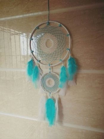 """🔷Blue and white dreamcatcher  🔷Ring 9"""" 🔷Available in more colors.  🔷Rs. 800 🔷For order contact on 8268230251"""