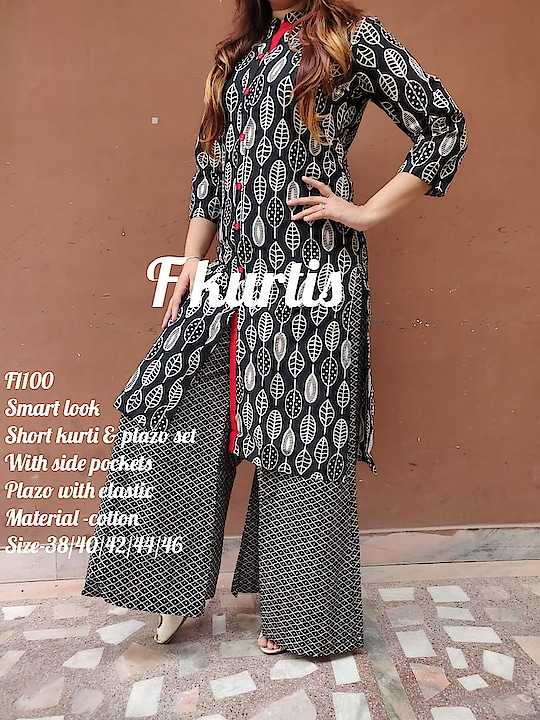 *F1099, F1100, F1101,F1102, F1103*  _*Smart look printed short  kurti & plazo set With side pockets  Plazo with elastic _*  Material -cotton  Size-38/40/42/44/46 Price-₹1150 free ship  Ready to despatch 💕