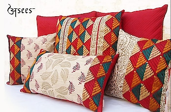 A set of four elegant cushion covers with hand block printed designs and earthy tones of phulkari to complement your ethnic home decor. . . .  #aseesbyaakriti #asees #phulkari   #cushioncover  #phulkari_collection #threadwork  #traditional_phulkari #indian_phulkari_designs #instafashion  #fashiondiaries  # #homedecor  #interiordesigninspo #interior  #decor #designlife #homedesign  #handmade  #homesweethome  #interiors  #furnituredesign  #luxury  #homedecoration #homestyledecor #interiordecor #instahome #interiordesigner  #homeideas #indianinteriors #indiandecorideas