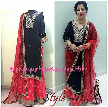 ITs not only about standing in the crowd....it's about standing out in the crowd 😍😘#styleyourtaleclient #clientdiaries #indianethnic #indianoutfit #indiandesign #customized #fashionbloggerstyle #fashiondesigner #blackdress #reddress #embroidered #partywearshopping #onlineshop #courierservice #customizedoutfits #ootdroposo #shippingworldwide #indianfashiondesigner