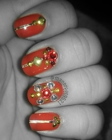 Perfect Sunday nails 😍 #maybellinecolorshow #notd #red #nails#wmk#kaur #happyme  #nailstagram #nailart #nail #art #nailswag #naildesign #fashion  #manicured #artist #bling  #nails2inspire #love #stud #color #nailartclub #naildesing #edit #potd  #sunday #fashion #roposonails #roposodaily #roposo #roposo-good