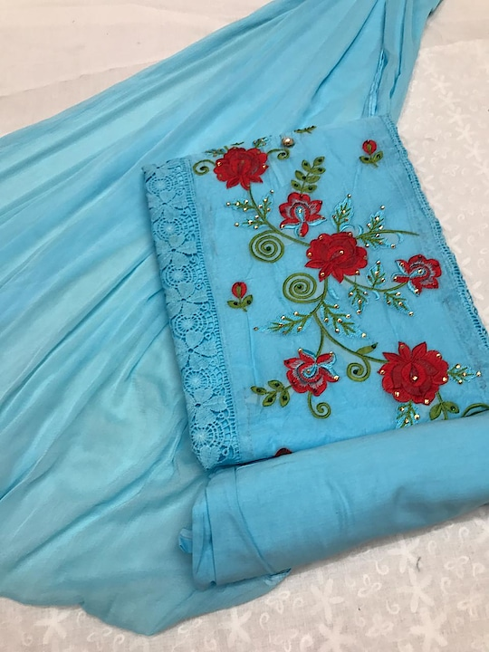 """*Non catalog-145* *#Salwarkameez*  TOP - ORGANDI COTTON INNER - COTTON BOTTOM - COTTON DUPATTA - NAJMEEN  *Singles@ 1099/pc* Ready to ship Multiples Available !! 💯% orignal product✅ 👉Prices inclusive of GST Tax 👉Sorry but No COD available 👉Payment modes - cash/cheque deposit// netbanking// creditcard// debit card payments/ western union / paypal/ payumoney/paytm 👉Free 🆓 delivery in India 👉Worldwide shipping available( Feel free to ask us shipping rates for your country) 👉Stitching as per measurement ( Tailoring) available with us. 👉To order whatsapp or Imo on 0091-9004659896 👉Call/sms/viber/tango on 00971-557204351 👉Skype Id - rooshfab 👉Follow us on www.facebook.com/olayla123 👉Instagram - olayla online boutique 👉For How to order kindly check on https://www.facebook.com/notes/o-layla-online-boutique/ 👉how-to-book-your-order-with-o-layla-online-boutique-/545844065509296  👉For return policies kindly check on  https://www.facebook.com/notes/o-layla-online-boutique/returns-and-refund-policy-with-o-layla-online-boutique/868169839943382 👉Follow us on http://www.roposo.com/@olayla 👉To register for regular collection updates on whatsapp, drop us a whatsapp message on 0091-9004659896 with your name and city and text - """"Add Me"""""""
