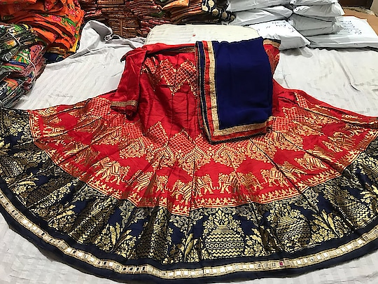 😅😅On very high demand .... back in stock 👆👆  Superb brocade weaving banarsi lehnga (semi)👌👌👌💐  blouse silk material(unstich)💐💐  chiffon dupatta with border (ready)👌👌😍😍😍  Real mirror border at bottom   Length 40 Waist upto 40  *price 1560+$*  *wedding season special* Awesome quality Quality promise product✅ Same as in pic A party wear dress in unexpected unbeatable price....  SM.