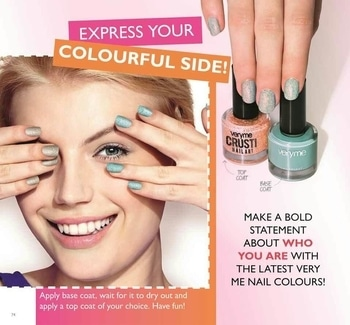 ORIFLAME - very easy nail art with very me crusti nail art, simply paint ur nails with this fabulous nail paints and you are done with a beautiful nail art