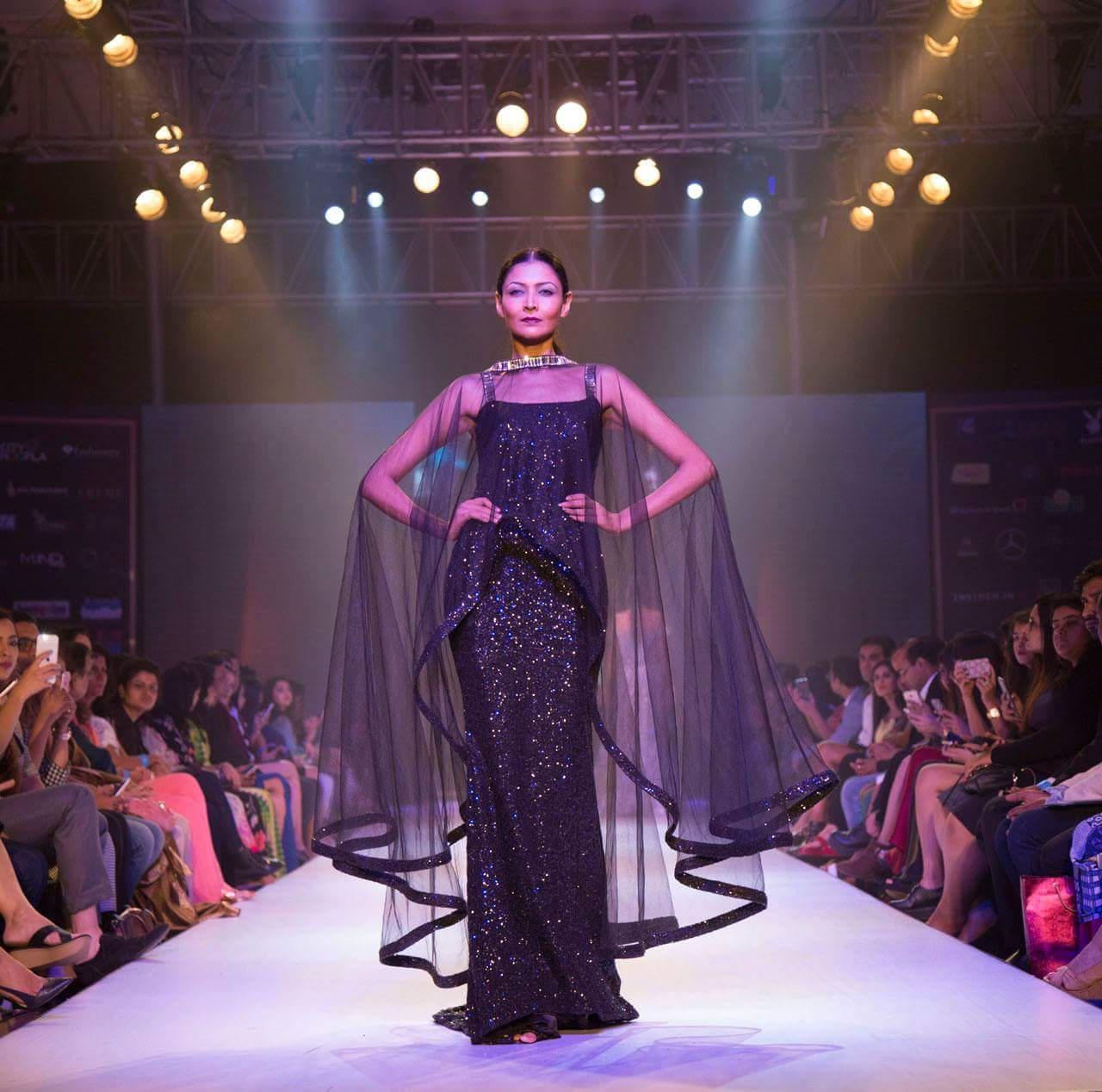 Creating #blackmagic at @pune_fashion_week runway as this sparkling #ritz gown with tulle drape @labelnityabajaj makes an impact #bold #fierce #labelnityabajaj #comingsoon at www.nityabajaj.com
