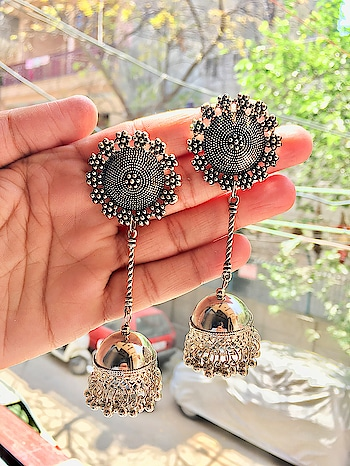 Silver Oxidised High Class Luxury Jhumka Afghani Earrings  #jewellerytrends #jewellerylover #jewellery_blog#jewellerydesign #jewellery #jewellerygoals#necklaces #necklace #kundanjewellery#kundanjewelry #kundannecklace #earringswag#earringsoftheday #earringsogood #ring#crystalnecklace #oxidized #oxidisedstuds#earstuds #oxidisedcombo #choker#germansilverjewellery #germansilver #gsjewellery #oxidisedjhumka #oxidizedjhumka #earrings#oxidisedjewellery #oxidizejewellery#oxidisedearrings #afghani #golden #classy #adjustable #choker #necklace #classy #class #luxury #ladies #party #partywear #trend #sexy #hot #selling #jewellery #fashion #fashionaddict #accesories#class #onlineshopping #shopping#lifestyle #afghan #tribal #boho #coin #silver #multi #coloured #imported #import #delhi #indian #indian #desi #swag #lookoftheday #desi #designer #festive #ethnic #collar #golden#antique #oxidised #oxidized #new #stylish #retro#look #married #marriage #wedding #function #occasion #fine #women #lehenga #model#ethnic