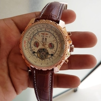 # Breitling # For Men  # 7A quality # Bentley model # Features-Working chronograph, full automatic machinery & croco leather belt Available @ 4850 incl⛵👆🏻👆🏻👆🏻vk #watches